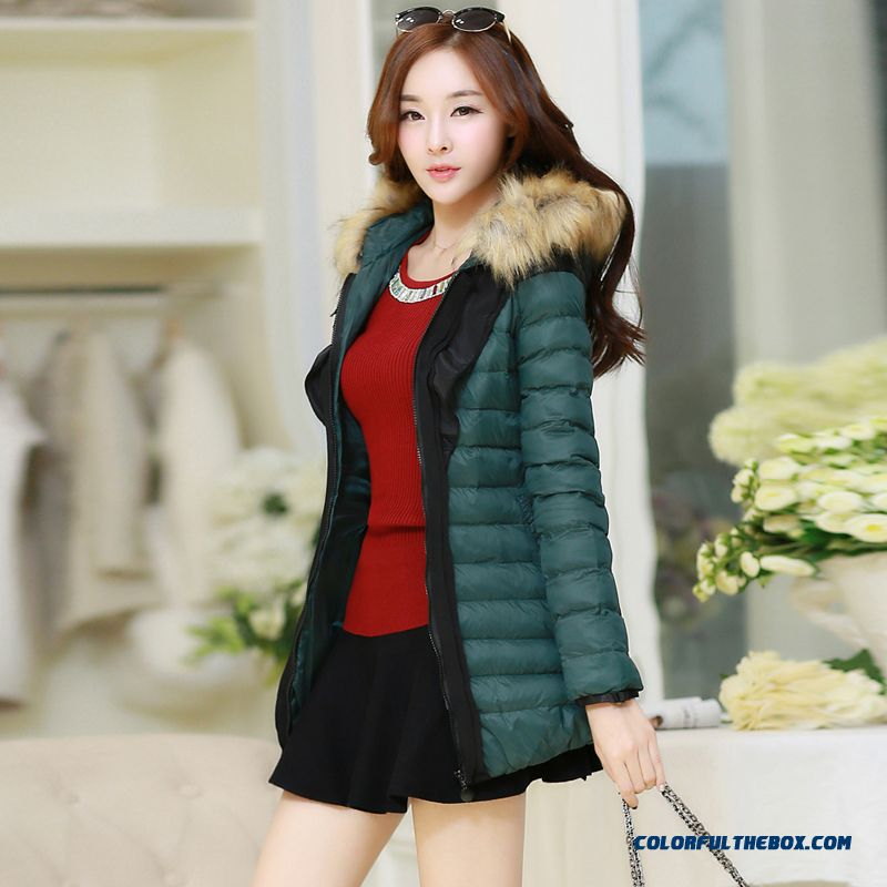 Free Shipping Fashion Female Hooded Coats Slim Medium Length Green Red