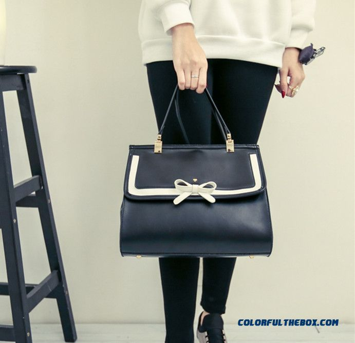 Free Shipping For Women Bowknot Shape Retro Top-handle Bags Briefcase