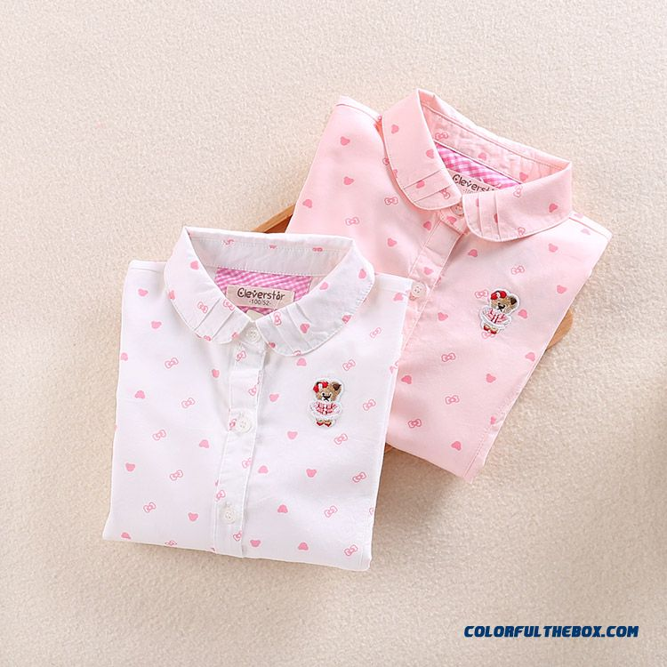 Free Shipping Girls 2016 Spring New Cotton Lining Long-sleeved Shirt Printing Kids Blouse