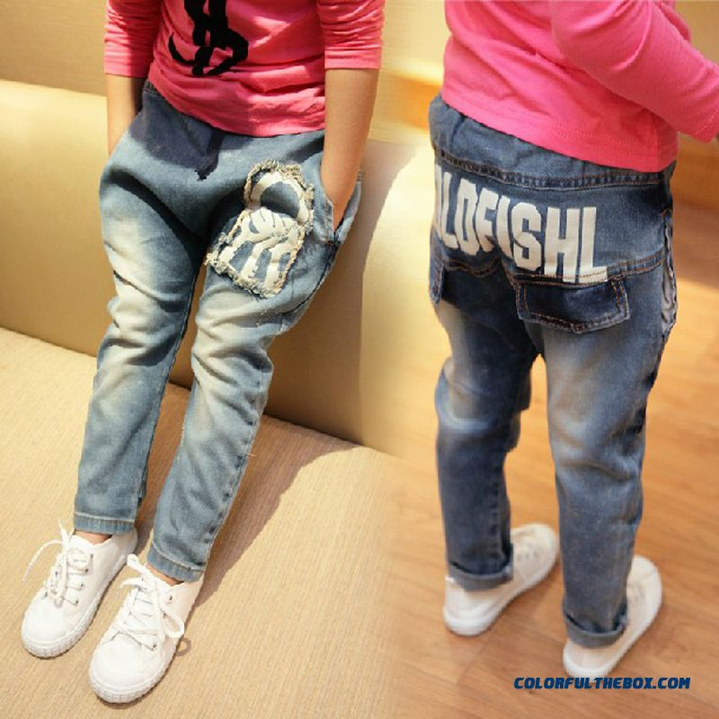 Free Shipping Girls Bags Denim Long Pant Children Kids Harem Pants