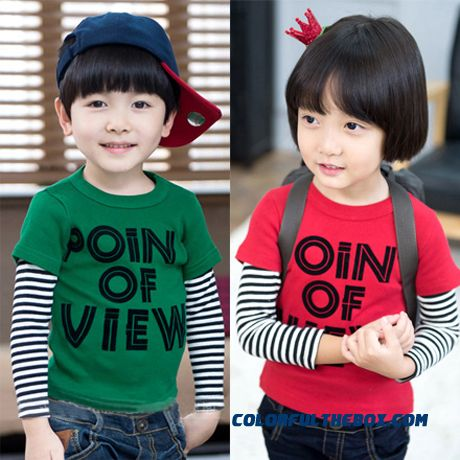 Free Shipping Hot Sale Kids Girls Fake Two Of Clothing Bottoming Shirt T-shirt Clothing