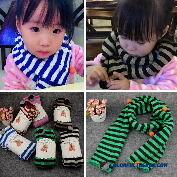 Free Shipping Kids Girls Neck Scarf Scarves 2 Color Stripes Style Top Sale Infant Accessories