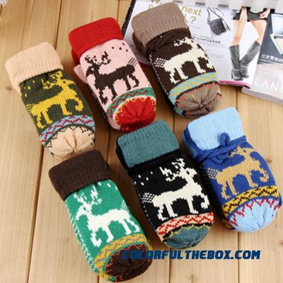 Free Shipping Knitted Wool Child Kids Boys And Girls Outdoor Warm Velvet Deer Full Finger Gloves Accessories - more images 1