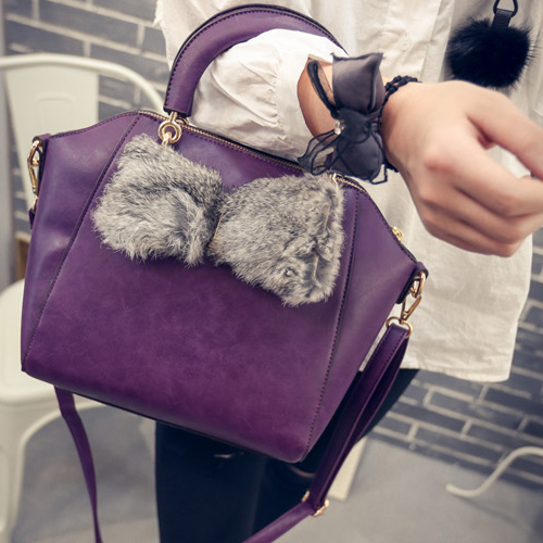 Free Shipping Lady Women Bags Real Rabbit Fur Bowknot Shell Style Bags Stylish Hit Color Shoulder Bags
