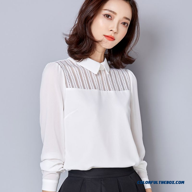 Free Shipping Long-sleeved Chiffon Shirts Women Doll Collar Temperament All-match Bottoming Shirt Shirt Fashion Version Of Elegance