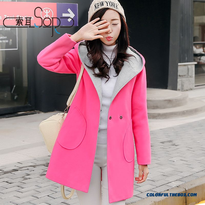 Free Shipping Loose Medium-long Hit Color Stitching Plus Size Sweet Wmen Coats