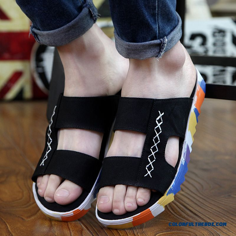 Free Shipping Men's Personality Slippers Antiskid Fashion Beach Shoes