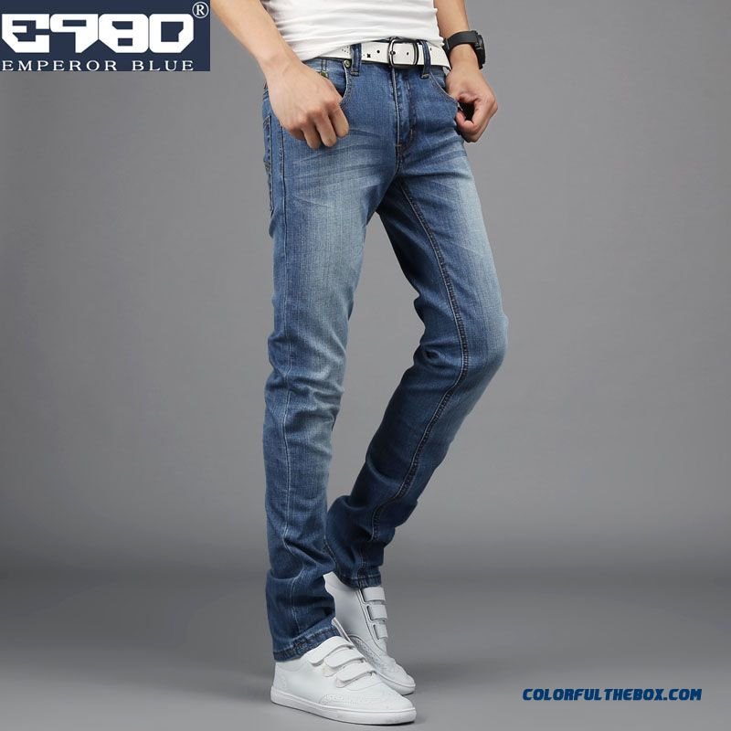 Free Shipping New Autumn Elastic Dashion Bleu Slim Jeans For Men