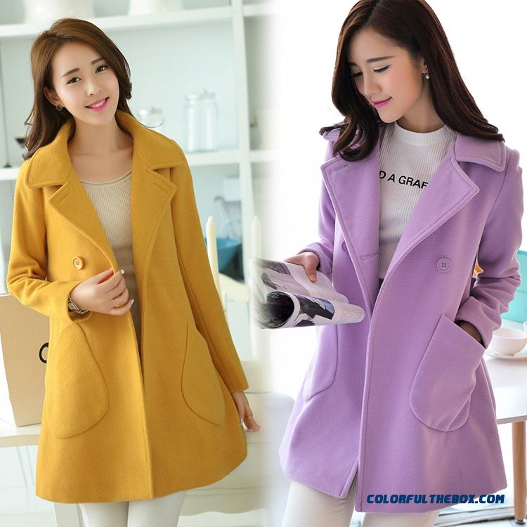 Free Shipping New Autumn New Women Medium Style Woolen Coats Loose Large Size