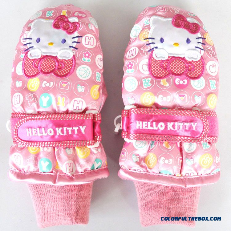 Free Shipping New Hellokitty Kids Mittens Waterproof Ski Gloves Girls Warm Mittens
