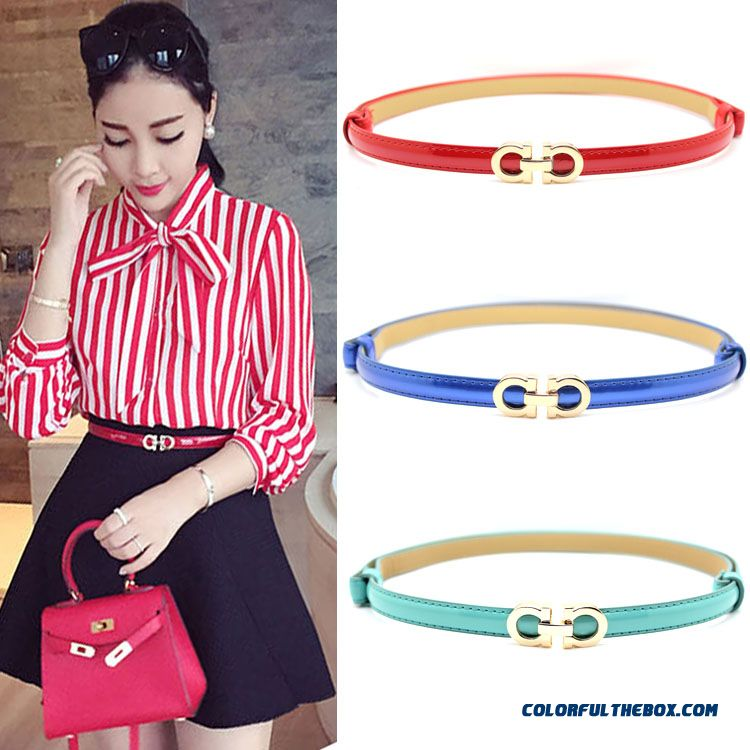 Free Shipping New Korean All-match Genuine Leather Patent Leather Women's Thin Hooks Belt