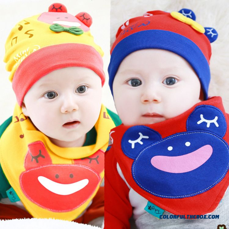Free Shipping New Korean Baby Hat Mickey Note Hats Pinafore Sets Infant Kids Boys Accessories