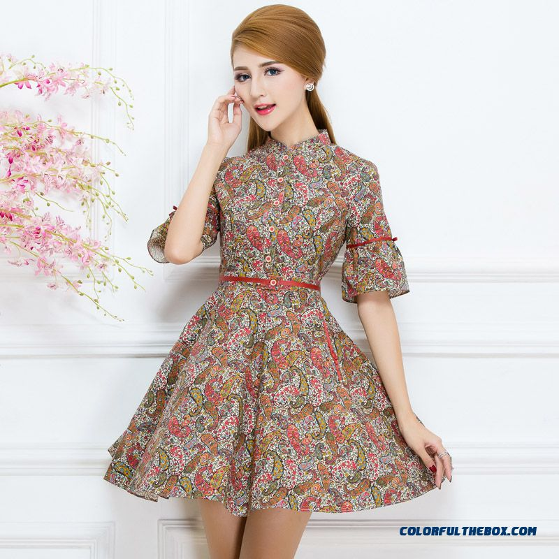 Free Shipping New Middle-aged Lady Women Printing Three Quarter Sleeve Dress Spring
