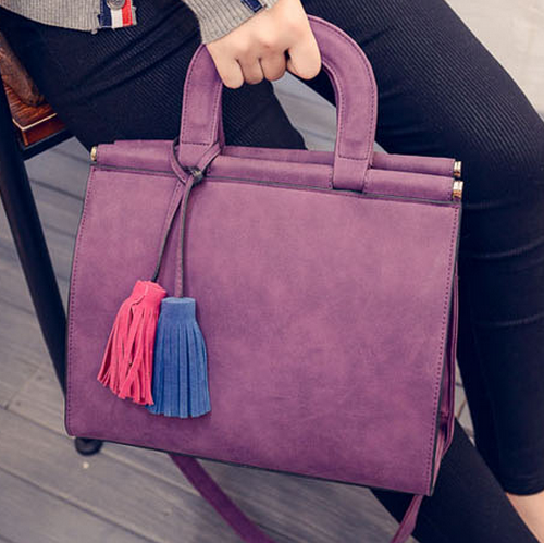 Free Shipping New Nubuck Women Bags Two-color Hit Colaor Tassel Pendant Casual Shoulder Bags - more images 1