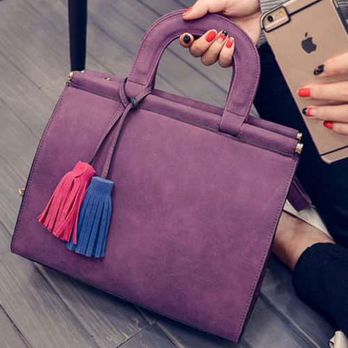 Free Shipping New Nubuck Women Bags Two-color Hit Colaor Tassel Pendant Casual Shoulder Bags - more images 2