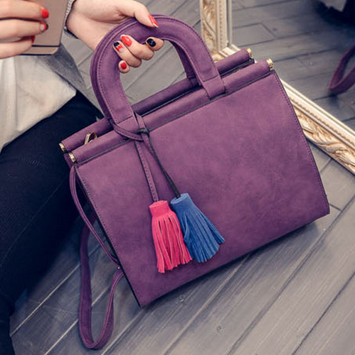Free Shipping New Nubuck Women Bags Two-color Hit Colaor Tassel Pendant Casual Shoulder Bags - more images 3