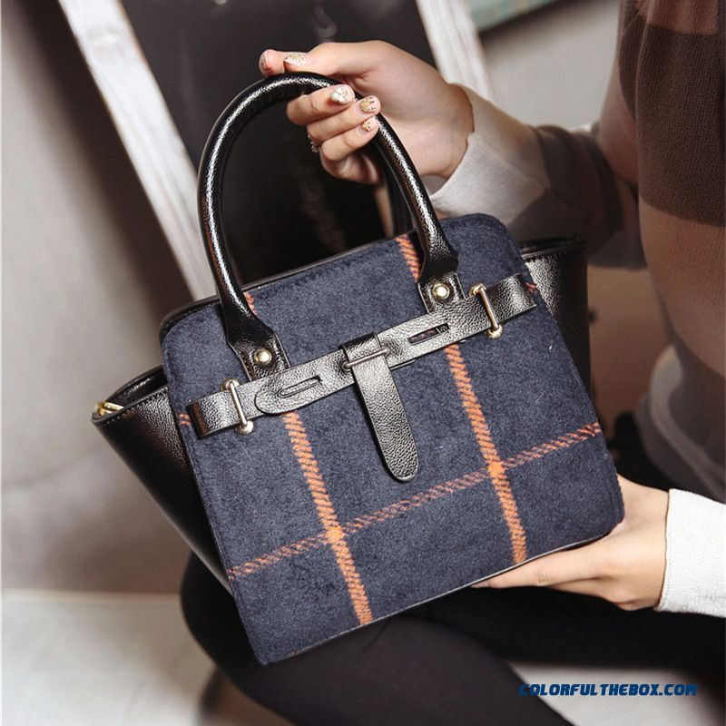 Free Shipping New Woolen Small Retro Hit Color Stitching Top-handle Bags For Women