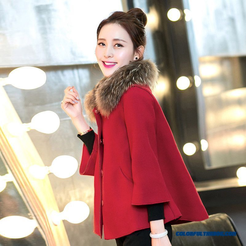 Free Shipping Of Woolen Mantle Woolen Jacket Short Thick Fur Collar Red Khaki Winter