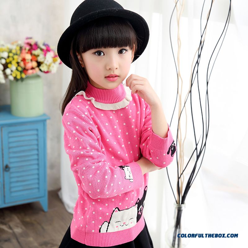 Free Shipping Pullover Round Neck Sweater Girls Kids Cartoon Coat Clothing Primer Shirt 5 Kinds Of Color Sweaters