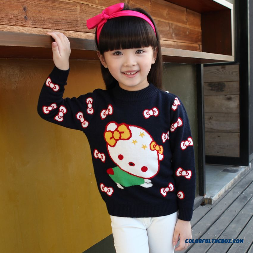 Free Shipping Pullover Sweater Girls Cartoon Cat Sweater Coat Primer Shirt Fashion