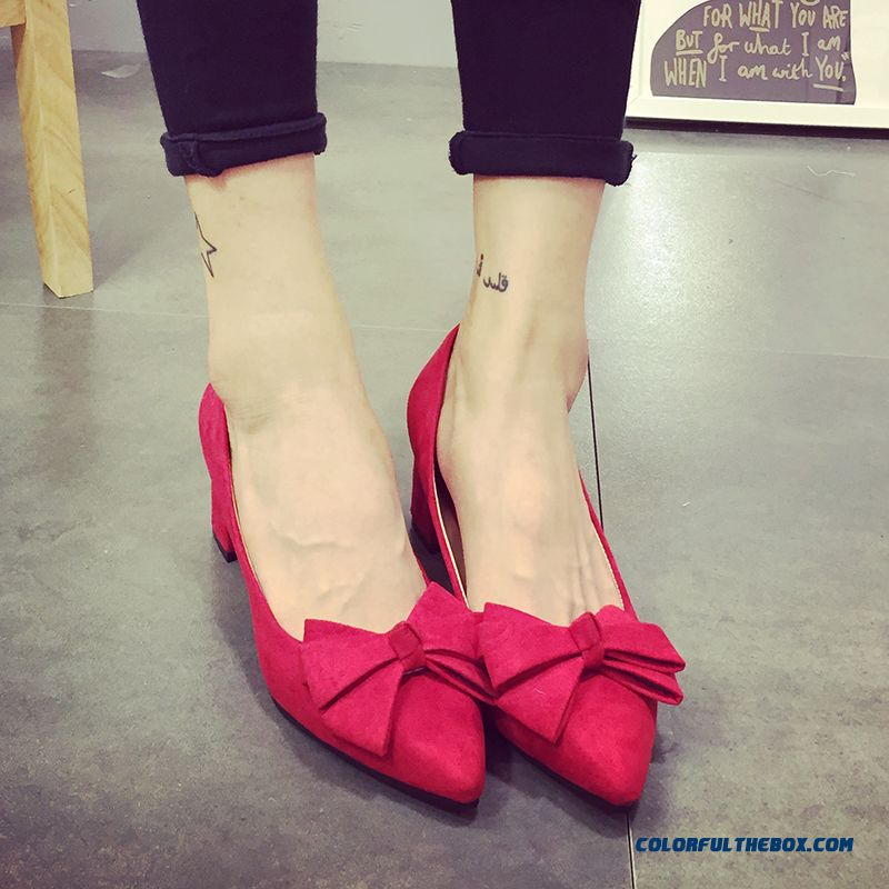 Free Shipping Pumps Sweet Rough Heel Bow-tie Decorative Pointed High Heels Women Shoes