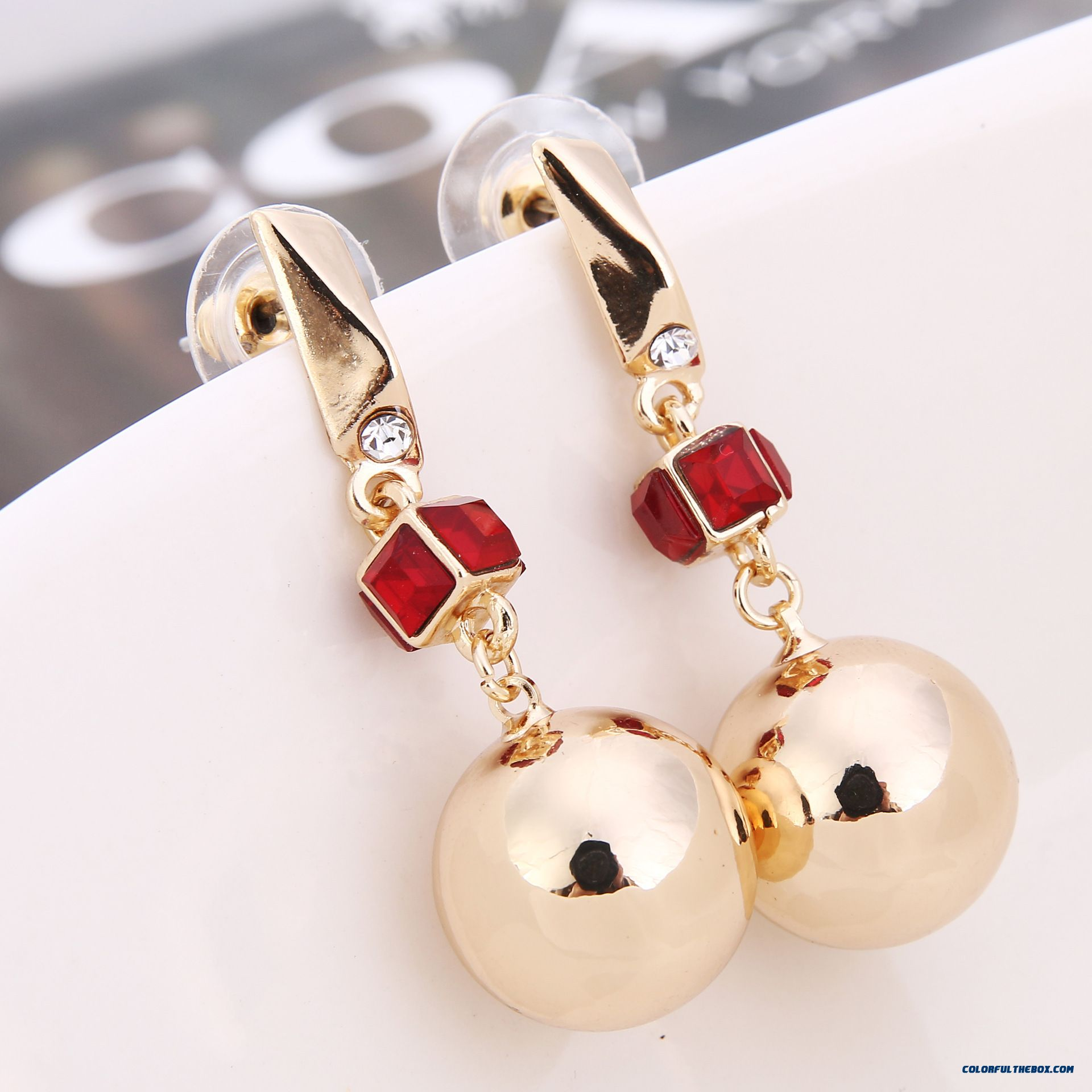 Free Shipping Women Glossy Gold Plated Crystal Beads Stud Earrings Hypoallergenic Jewelry