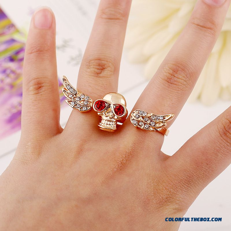 Free Shipping Women Vogue Jewelry Personality Bicyclic Set With Diamonds Skull Wings Ring Opening