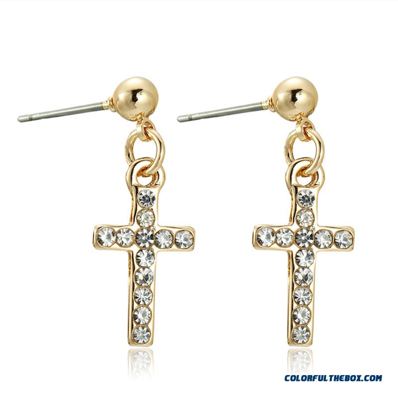 Frees Shipping Women Diamond Cross Earrings Hot Jewelry Gold Silver