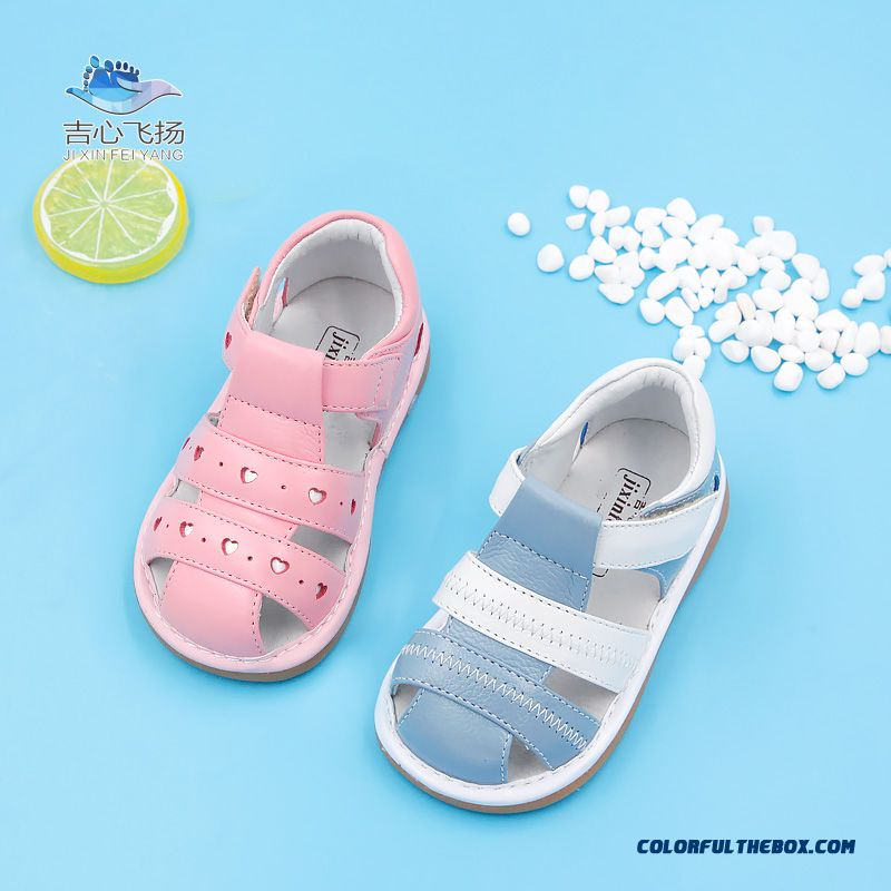Genuine Leather Gum-rubber Outsole Children Kids Sandals Girls Princess Shoes