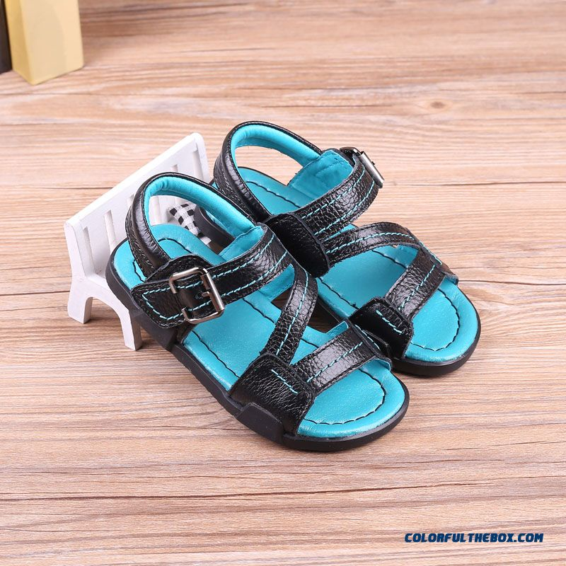 Full Leather Black And White Non-slip Soft Bottom Boy Sandals Kids Shoes