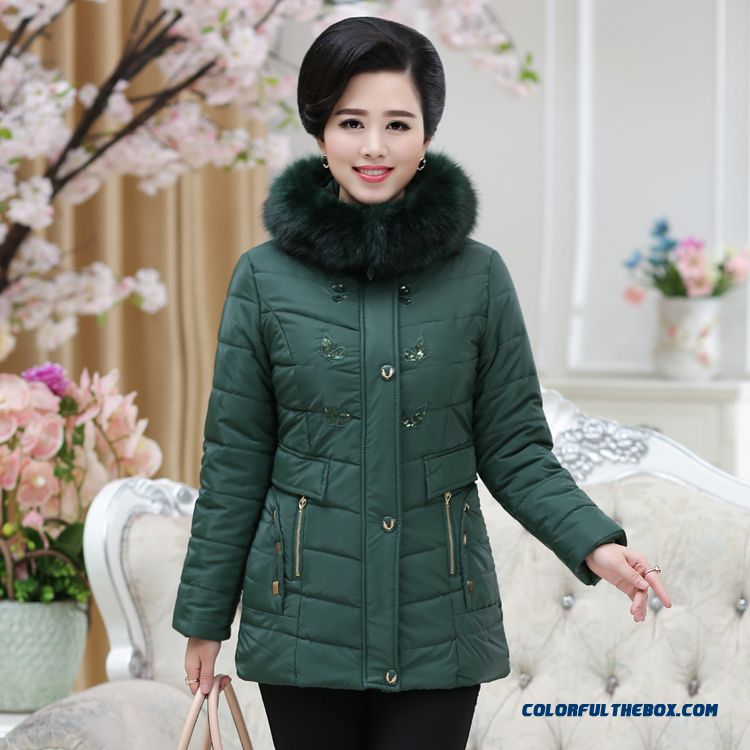 Fur Collar Coat Solid Color Medium-long Zipper Ladies Women Winter Preferred Jacket