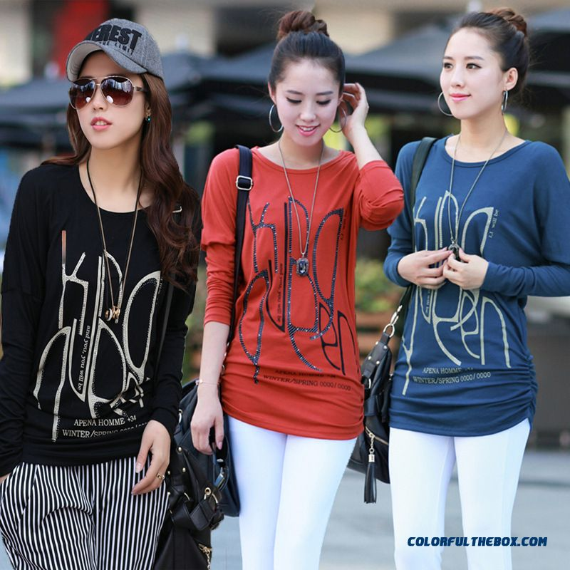 Gentle And Elegant Women Printing Long-sleeved T-shirts Blue Red