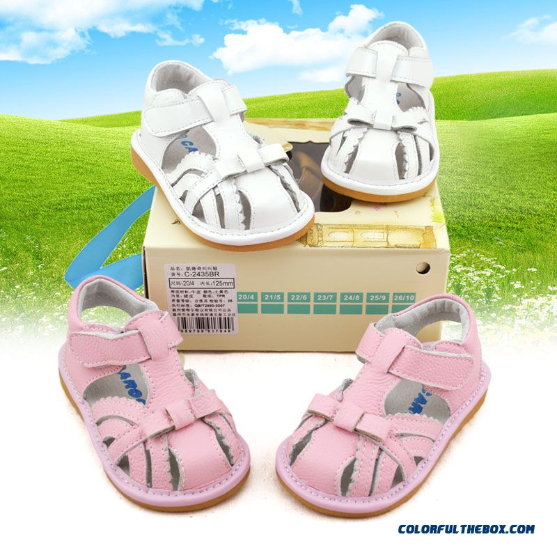 Genuine Leather Anti-slip Girl Baby Toddler Kids' Shoes Summmer Sandals White