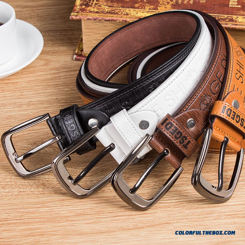 Genuine Leather Belt Men Pin Buckle Youth Accessories Casual Fashion Students Decorated Cheap Belts