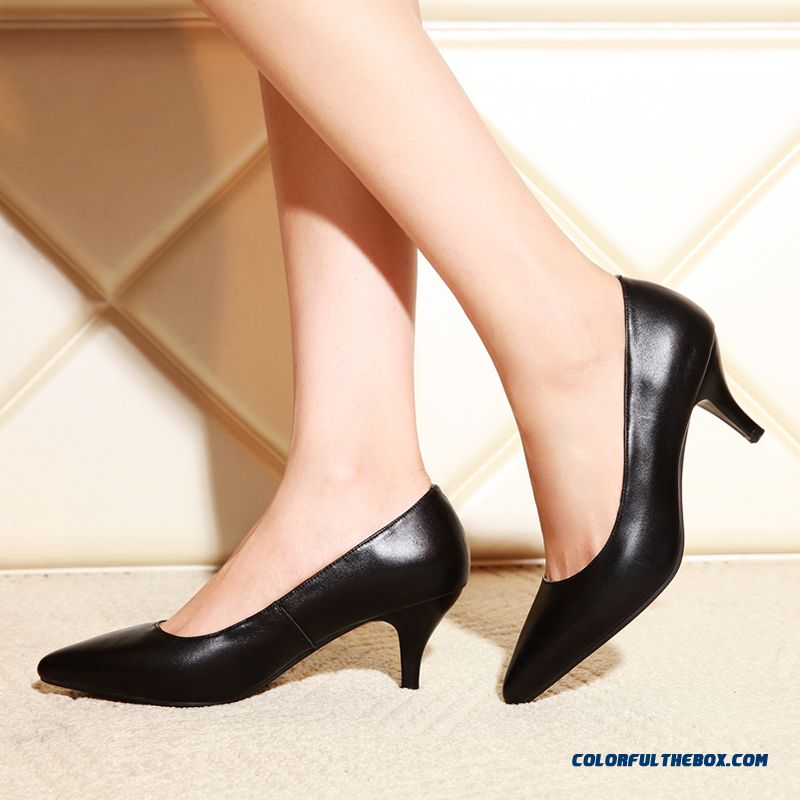 Genuine Leather Pointed Shoes Low Shoes Shallow Mouth Women Minimalist Comfort Pumps