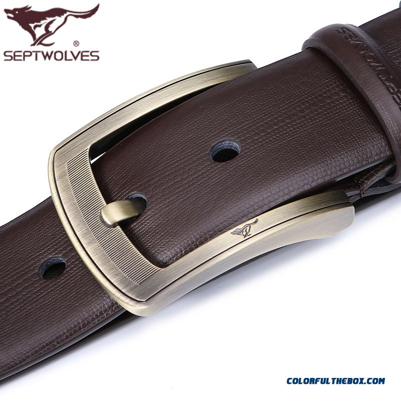 Genuine Septwolyes Men Belt Pin Buckle All-match Leather Belt Youth Belt Widening