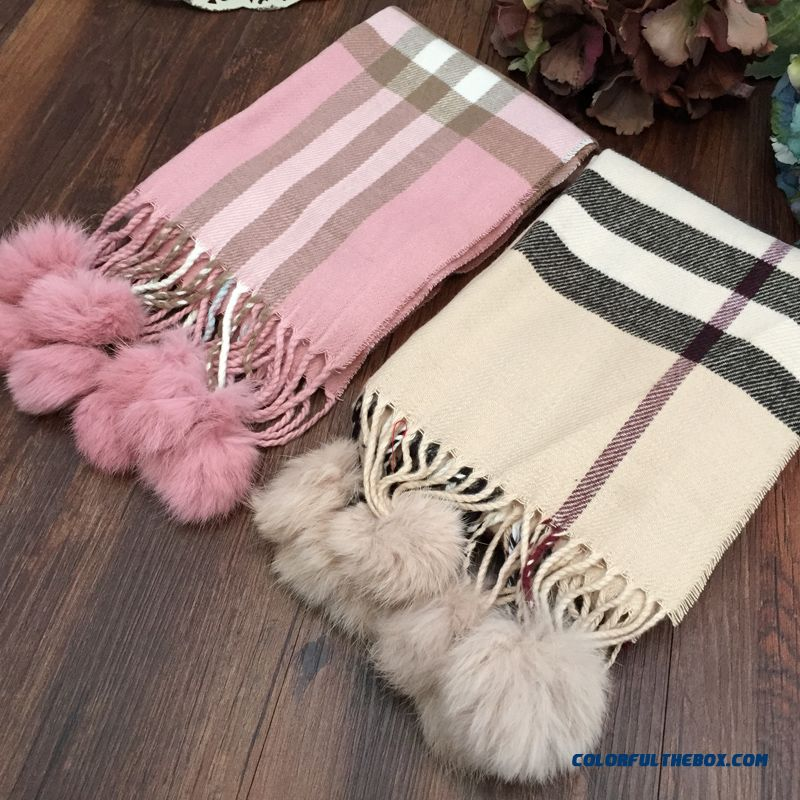 Girl Fashion All-match Plaid Real Fur Hairball Cashmere Scarf Kids Winter Essential Accessories