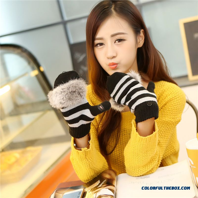 Girl Student Half Finger Gloves Wool Woolen Clamshell Dual-porposewomen Gloves Mittens Accessories