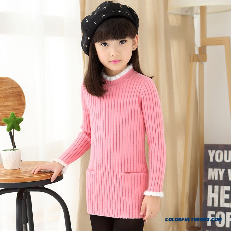 Girls Clothing Kids New Winter Sweater Medium Style Ladies Sweet Beauty Lotus Leaf High-collar Korean High Tide Models