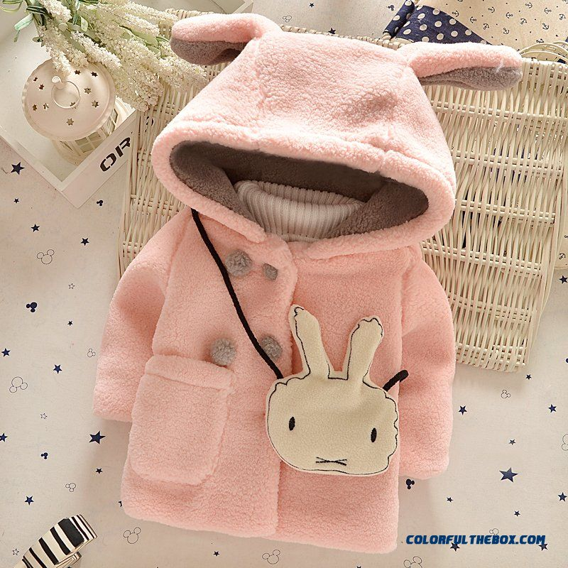 Girls Coat Hooded Thick Jacket Little Rabbit Red Pink For Kids