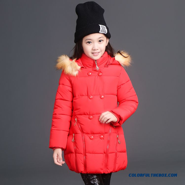 Girls Cotton Coats With Fur Collar Long Zipper Hot Jacket Winter Kids Clothing