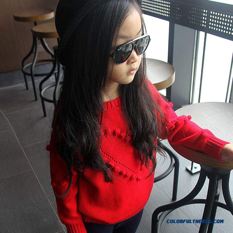 Girls' Cotton Knit Sweater Kids Love Bottoming Pullover Sweaters Solid Color Clothing