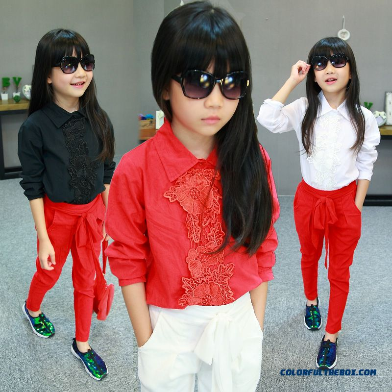Girls Cotton Long-sleeved Shirt Princess Lace Elegant Ladies Shirt Shirt Blouse Red Black White