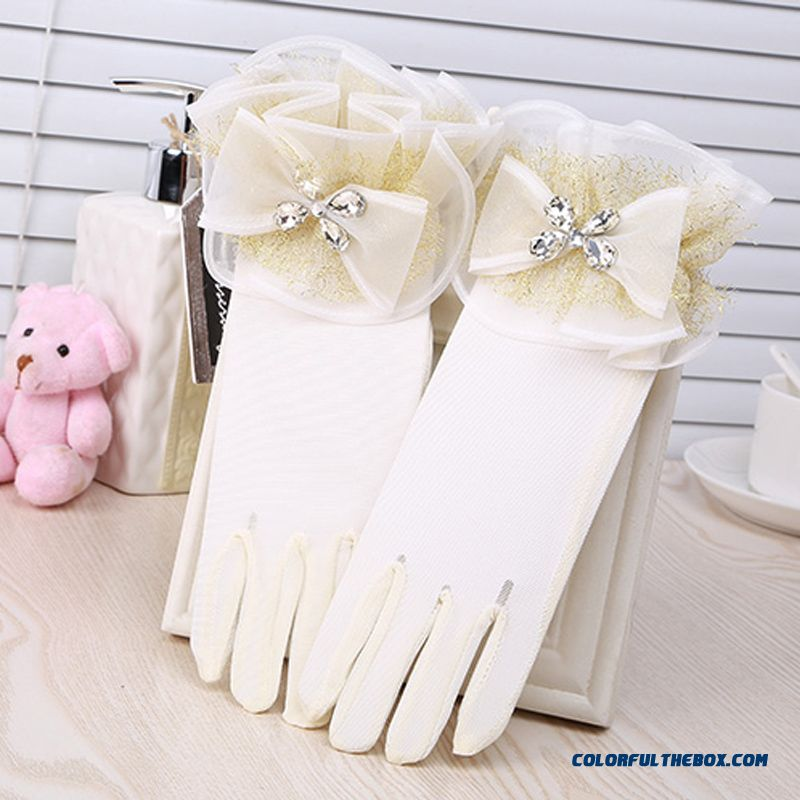 Girls Disney Cinderella Gloves Golden Drilling Network Dress Gloves Child Kids Princess Accessories
