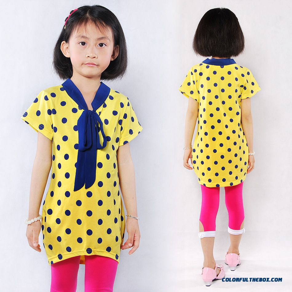 Girls Dot Mediun-long 2016 New Summer Kids Cotton T-shirt Short Sleeve