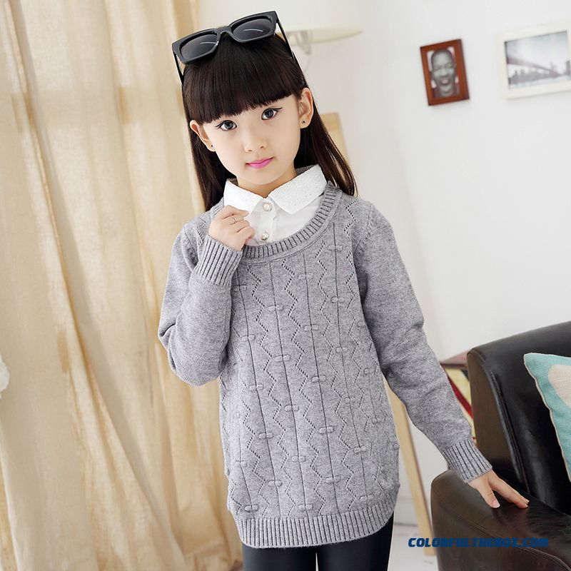 e8e1c7f190 Girls False Two-piece Long Sweater Bottoming Shirt Ladies Sweaters Kids Grey  Clothong