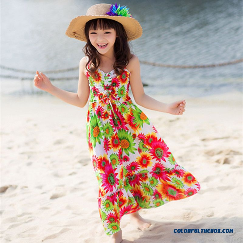 Girls Family Fitted Dress Summer Kids Bohemia Long Dress