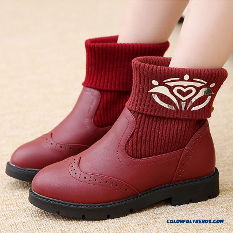 Girls Fashion Boots Princess Winter Boots Flat Knit Cashmere Design For Kids