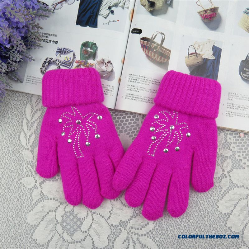 Girls Kids Five Fingers Gloves Winter Models Plus Thick Velvet Points Finger Solid Color Double-knit Wool Cashmere Gloves Lengthened