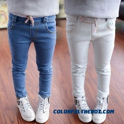 Girls Kids Jeans Slim Feet Pants Tight Pants Cheap Wholesale Girls Factory Outlets